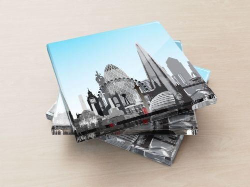 London Skyline Blue - Glass Coasters